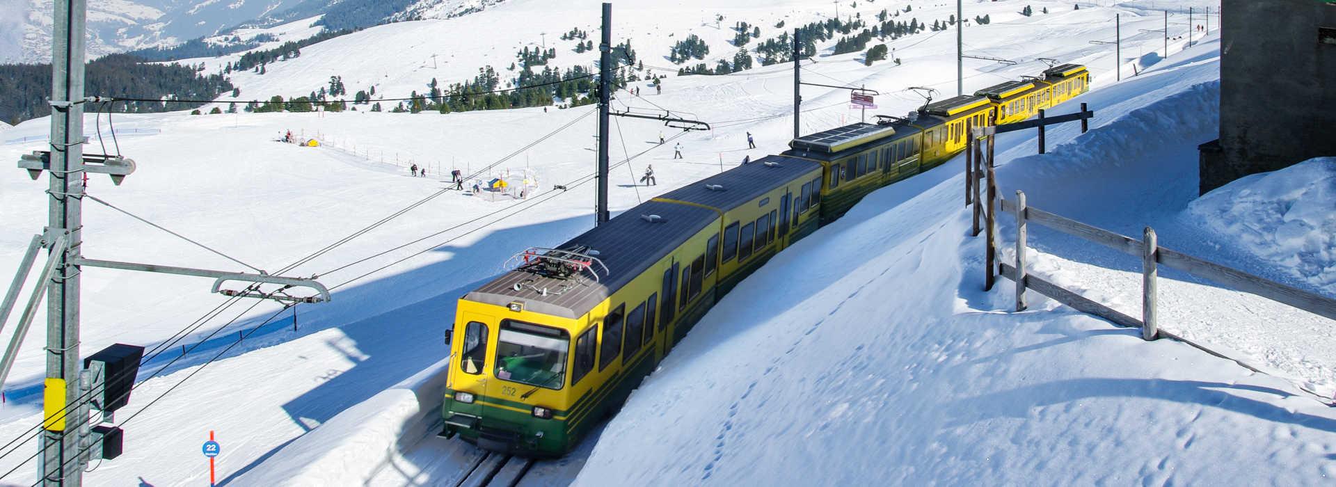 Train from Kleine Scheidegg to Jungfraujoch in winter. On the background the northface of mount Eiger.