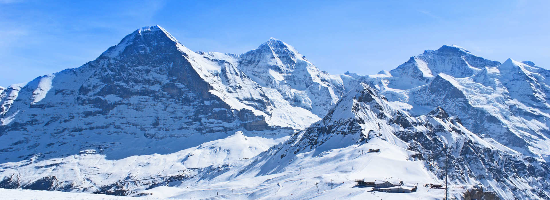 The Swiss winter resort boasts perfect ski tracks and nice views on the snowbound Alps, Grindelwald.